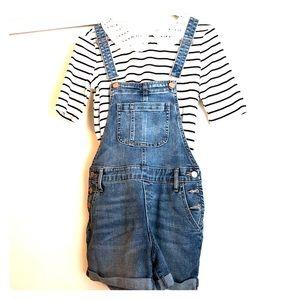 Denim overalls shorts
